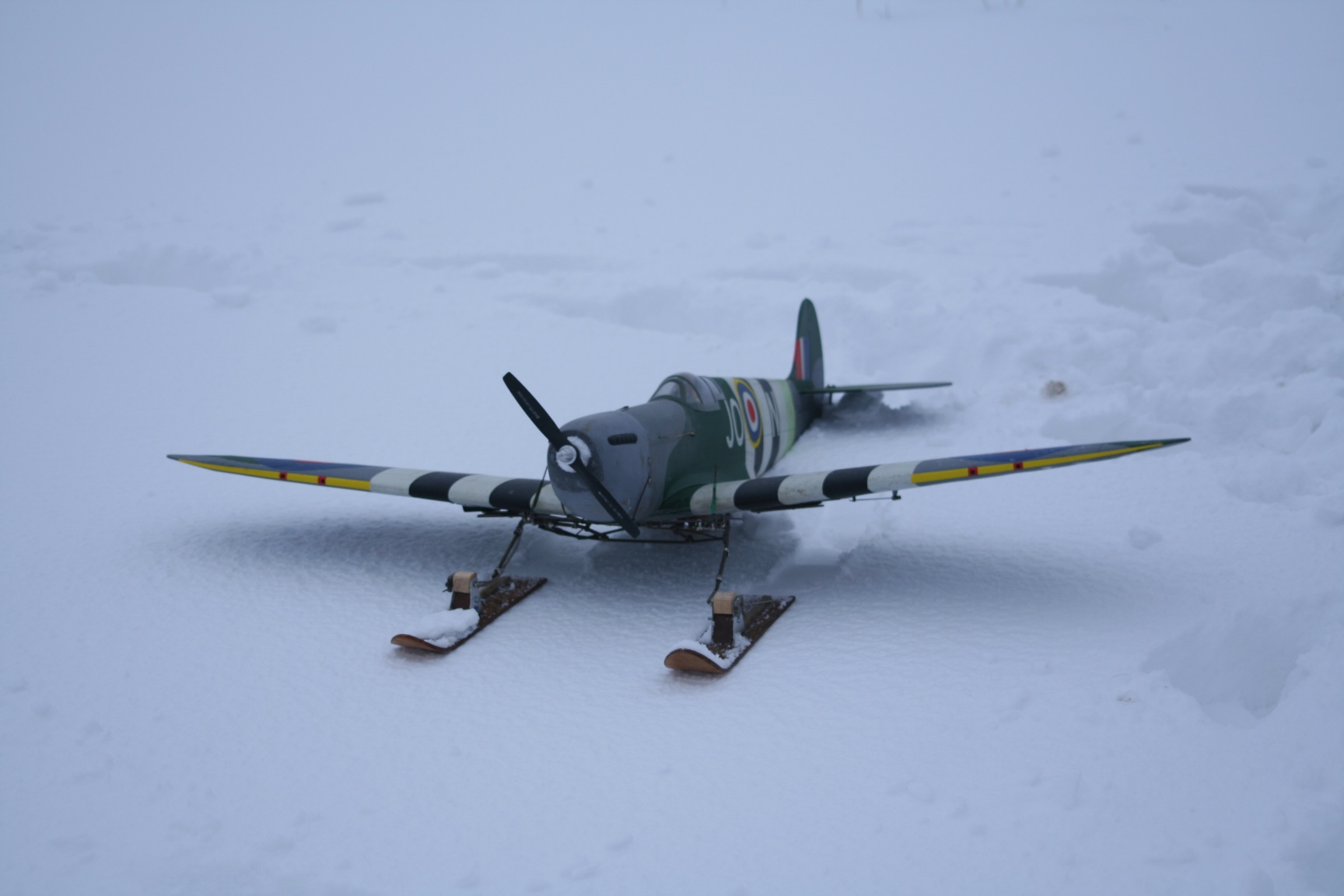 Spitfire on Skis Front View