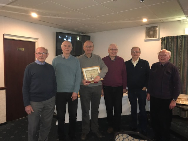 Geoff With The Committee. Left To Right ( John Purdy Lay Member, Joe Reid Secretary, Geoff Armstrong Honorary Member, Andrew Ellis Treasurer, Vince Stonebank Social Secretary, Bill Gordon Chairman.