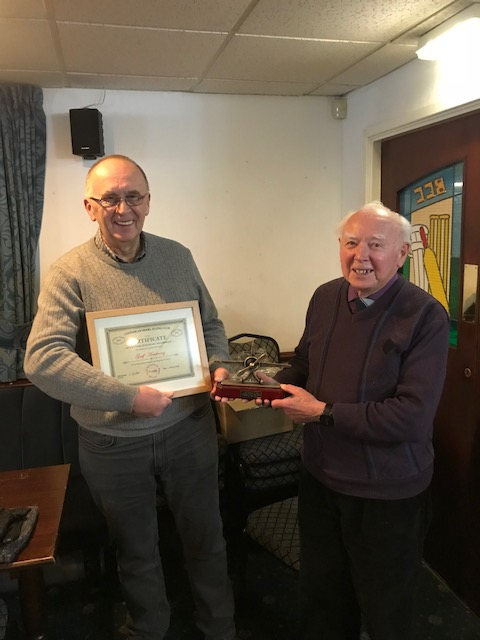 Geoff holding Certificate & Trophy with Bill Gordon Chairman.